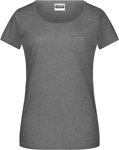 8003 Ladies'-T Pocket - Zwart-heather - XS