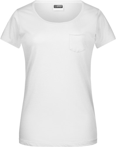 8003 Ladies'-T Pocket - Wit - XS