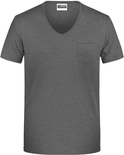 8004 Men's-T Pocket - Zwart-heather - M