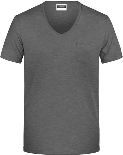 8004 Men's-T Pocket - Zwart-heather - XL