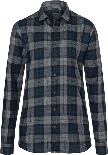 BF 8 Ladies' Checked Blouse Urban-Style - Navy - L