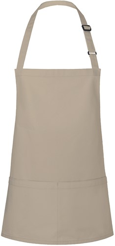BLS 6 Short Bib Apron Basic with Buckle and Pocket 75 x 60 cm - Sand - Stck