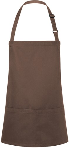 BLS 6 Short Bib Apron Basic with Buckle and Pocket 75 x 60 cm - Light brown - Stck