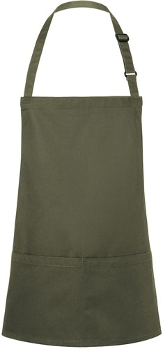 BLS 6 Short Bib Apron Basic with Buckle and Pocket 75 x 60 cm - Moss green - Stck