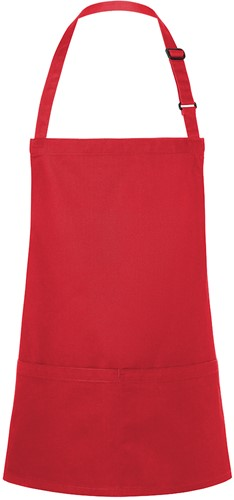BLS 6 Short Bib Apron Basic with Buckle and Pocket 75 x 60 cm - Red - Stck