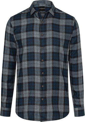 BM 8 Men's Checked Shirt Urban-Style - Navy - 2xl