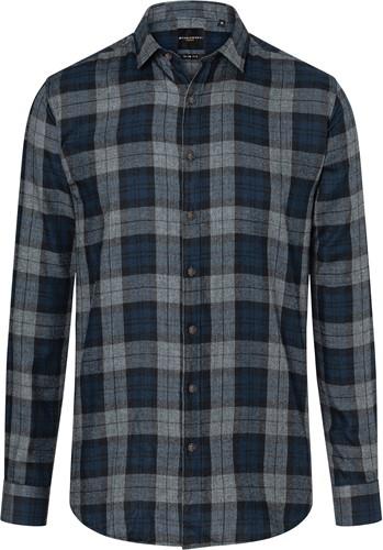 BM 8 Men's Checked Shirt Urban-Style - Navy - 3xl