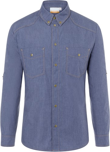 JM 30 Button-Down Chef Shirt Jeans-Style - Vintage blue - 54