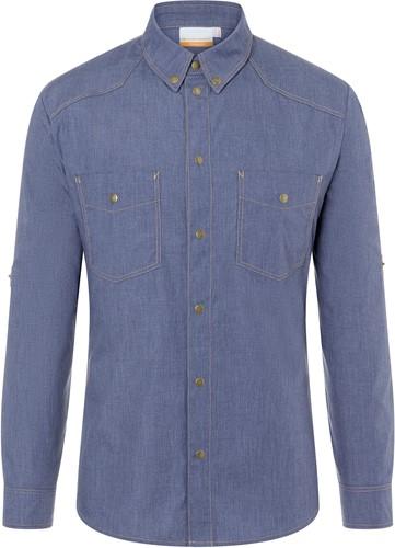 JM 30 Button-Down Chef Shirt Jeans-Style - Vintage blue - 56