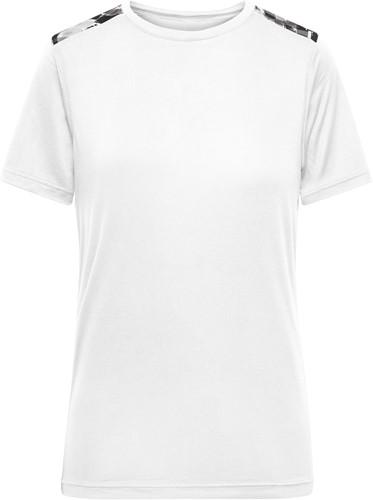 JN523 Ladies' Sports Shirt - Wit/zwart-grijs-bedrukt - XS