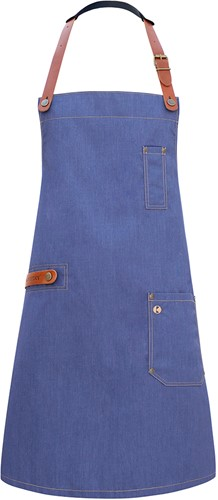 LS 24 Bib Apron Jeans-Style with leather and pocket 71 x 80 cm - Vintage blue - Stck