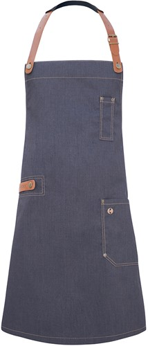 LS 24 Bib Apron Jeans-Style with leather and pocket 71 x 80 cm - Vintage black - Stck