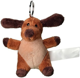 Plush dog with keychain