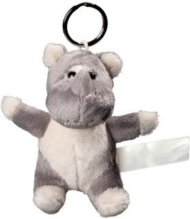 Plush rhino with keychain