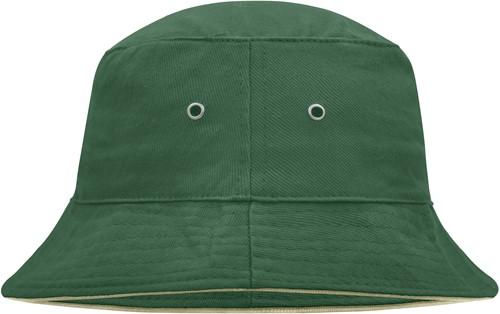 MB012 Fisherman Piping Hat - Donkergroen/beige - L/XL