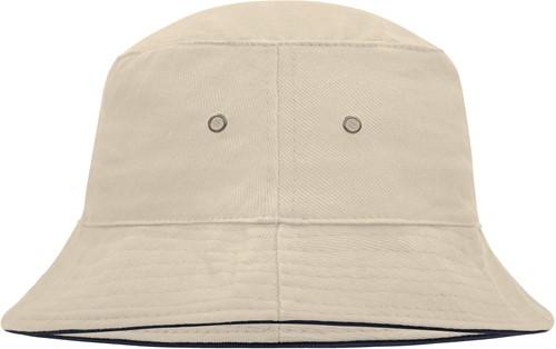 MB012 Fisherman Piping Hat - Naturel/navy - S/M