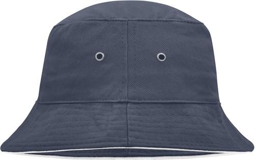 MB012 Fisherman Piping Hat - Navy/wit - L/XL