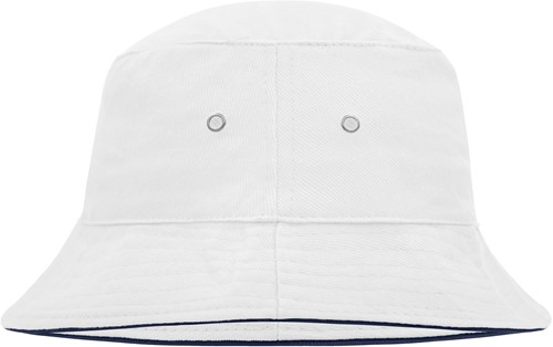 MB012 Fisherman Piping Hat - Wit/navy - S/M