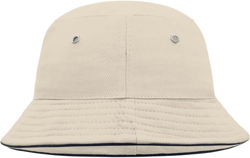 MB013 Fisherman Piping Hat for Kids - Naturel/navy - One size