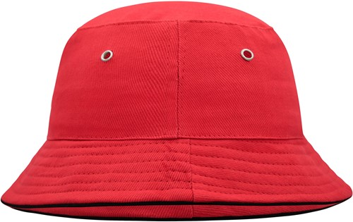 MB013 Fisherman Piping Hat for Kids - Rood/zwart - One size