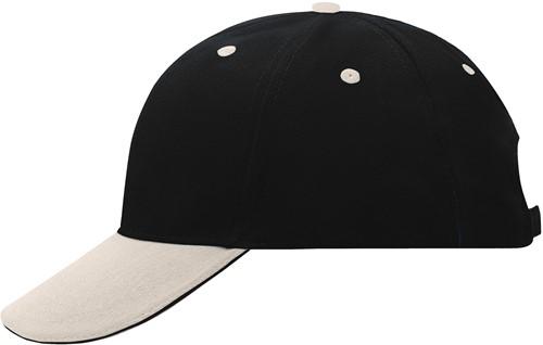 MB024 6 Panel Sandwich Cap - Zwart/beige/zwart - One size
