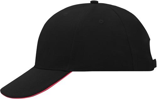 MB024 6 Panel Sandwich Cap - Zwart/rood - One size