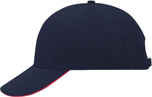 MB024 6 Panel Sandwich Cap - Navy/rood - One size