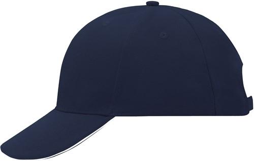 MB024 6 Panel Sandwich Cap - Navy/wit - One size