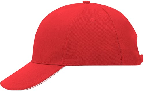 MB024 6 Panel Sandwich Cap - Rood/wit - One size