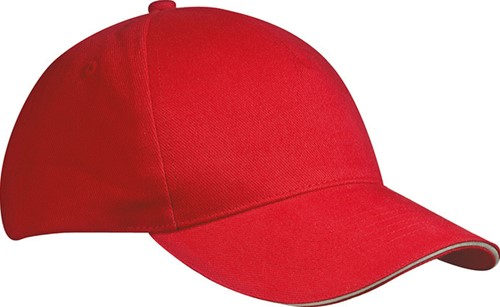 MB035 5 Panel Sandwich Cap - Rood/wit - One size