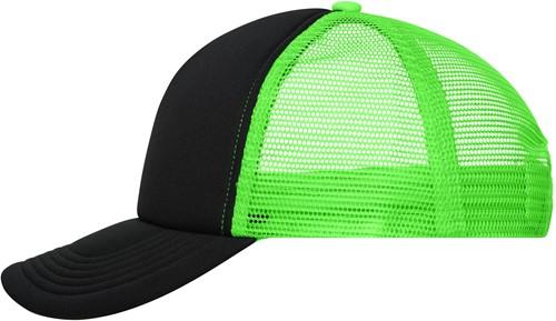 MB070 5 Panel Polyester Mesh Cap - Zwart/neon-groen - One size