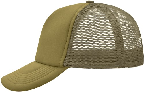 MB070 5 Panel Polyester Mesh Cap - Olijf - One size
