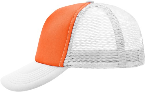 MB070 5 Panel Polyester Mesh Cap - Oranje/wit - One size