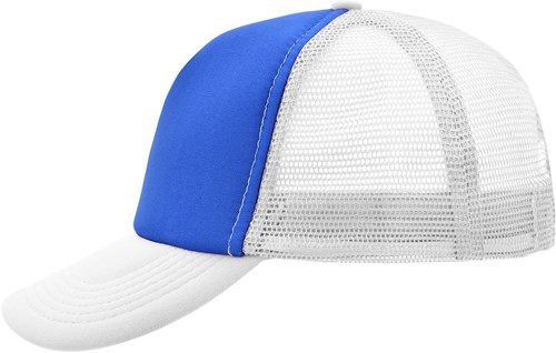 MB070 5 Panel Polyester Mesh Cap - Royal/wit - One size