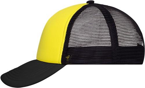 MB070 5 Panel Polyester Mesh Cap - Zon-geel/zwart - One size
