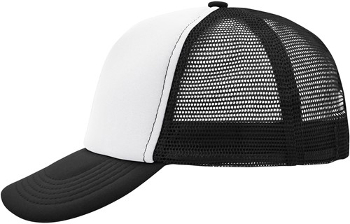 MB070 5 Panel Polyester Mesh Cap - Wit/zwart - One size