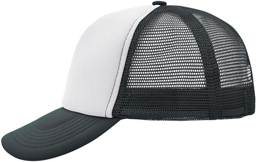 MB070 5 Panel Polyester Mesh Cap - Wit/grafiet - One size