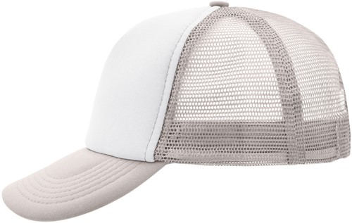 MB070 5 Panel Polyester Mesh Cap - Wit/lichtgrijs - One size