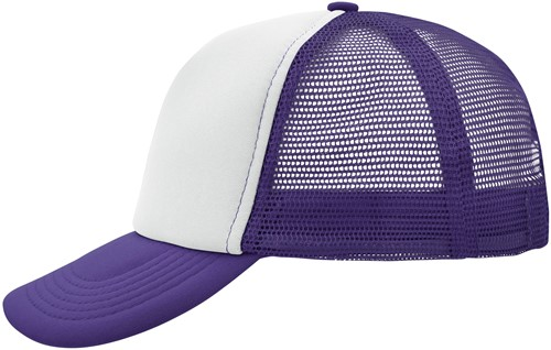 MB070 5 Panel Polyester Mesh Cap - Wit/lilac - One size