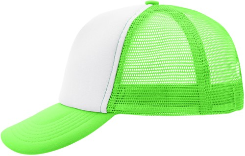 MB070 5 Panel Polyester Mesh Cap - Wit/neon-green - One size