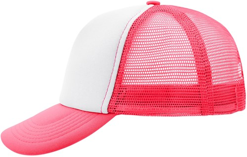 MB070 5 Panel Polyester Mesh Cap - Wit/neon-roze - One size