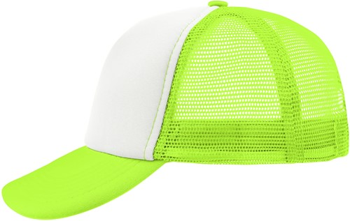 MB070 5 Panel Polyester Mesh Cap - Wit/neon-geel - One size
