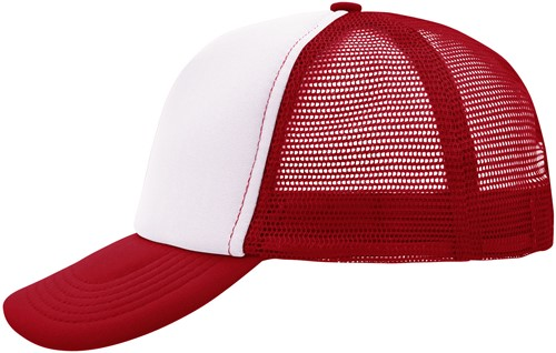 MB070 5 Panel Polyester Mesh Cap - Wit/rood - One size