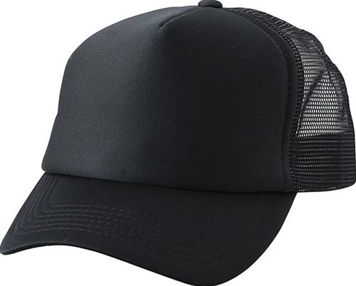 MB071 5 Panel Polyester Mesh Cap for Kids - Zwart/zwart - One size
