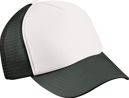 MB071 5 Panel Polyester Mesh Cap for Kids - Wit/zwart - One size