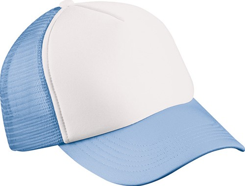 MB071 5 Panel Polyester Mesh Cap for Kids - Wit/lichtblauw - One size
