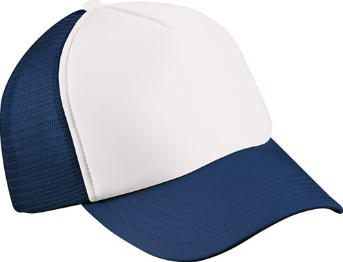MB071 5 Panel Polyester Mesh Cap for Kids - Wit/navy - One size