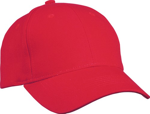 MB091 6 Panel Cap Heavy Cotton - Rood - One size