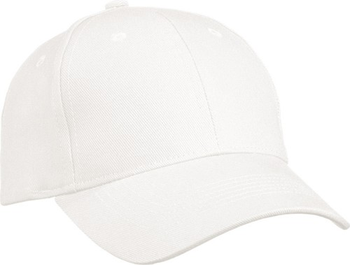 MB091 6 Panel Cap Heavy Cotton - Wit - One size