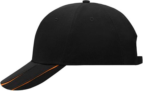 MB601 6 Panel Groove Cap - Zwart/oranje - One size